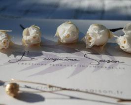 """Coffret de 5 pics """"Boutons de rose blanche"""" - Stabilisés."""