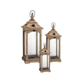 Set 3 lanterne legno