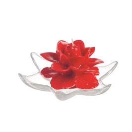 2 Candele Rosa Rosse Laccate su PIATTINO in Vetro diam.18 altezza 12cm