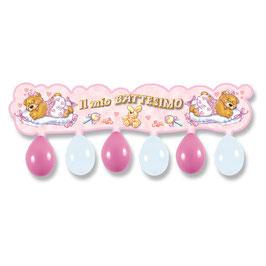 Festone Kit Il mio Battesimo rosa con 6 palloncini mt 1.00 x 23