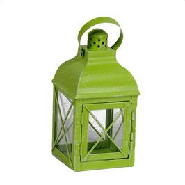 2 Lanterne metallo verde quadro cm11x11h23