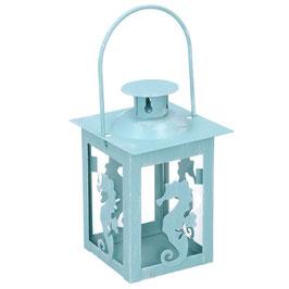 18 Lanterne metallo mare cavaluccio azzurro quadro cm7,5x7,5h11