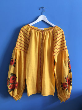 oops SOLD Yellow Embroidered Linen Blouse Vyshyvanka