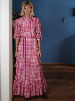 oops SOLD VINTAGE -  Pink Midi Dress Victorian Style