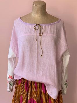 Pink Linen Blouse Flowers