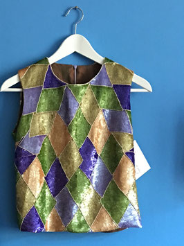 oops SOLD VINTAGE - 1960s Harlequin Sequin Top