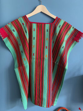 Turquoise Embroidered Mexican Huipil