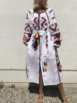 White Linen Geometric Dress