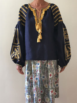 oops SOLD BlueGold Embroidered Linen Blouse Vyshyvanka