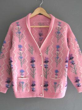 oops SOLD VINTAGE - 1950s Pink Floral Cardigan