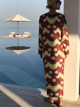 SixTwelve Ikat Burgundy Kaftan Dress