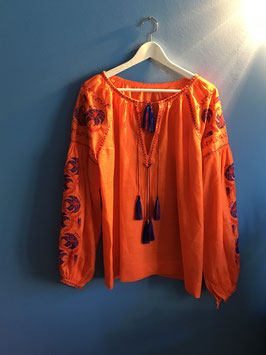oops SOLD Orange Linen Embroidered Blouse Vyshyvanka