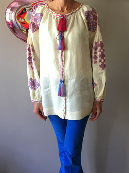 oops SOLD Ivory Linen Embroidered Blouse Vyshyvanka