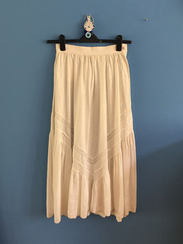 oops SOLD VINTAGE - 1970s Lace Paneled Cotton Maxi Skirt
