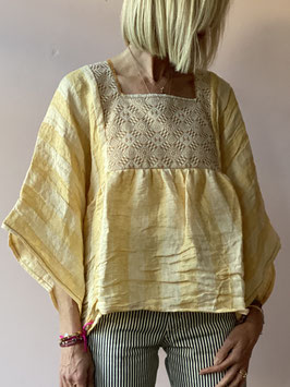 Luna Yellow Linen Blouse