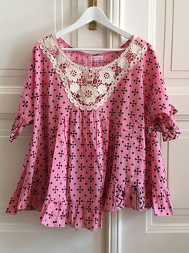 oops SOLD Yep Poncho Top Pink Stampa