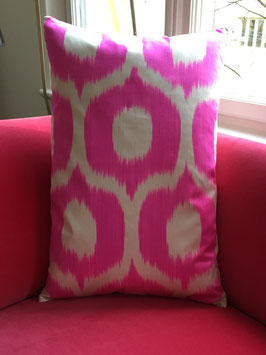 oops SOLD Private Label Ikat Silk Pillow Circle Hot Pink
