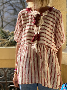 Red Striped Linen Blouse