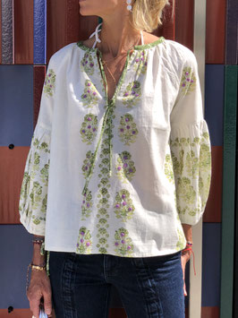 oops SOLD ZAHARA  Green Top Floral Print Embroidery - New Designer