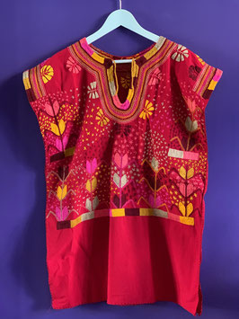 oops SOLD Red Multi Embroidered Mexican Huipil