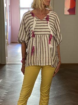 oops SOLD Purple Striped Linen Blouse