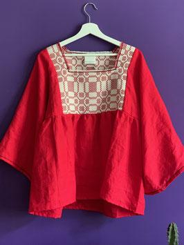 TINA Red Linen Blouse