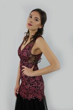 Kleid Schwarz Blumenspitze