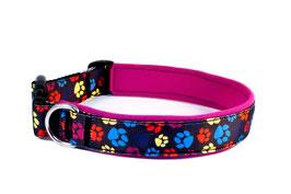 """Klickhalsband """"Paws pink"""" - 3cm Breite"""