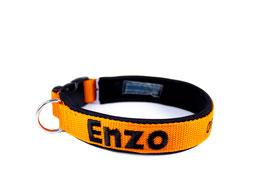 Klickhalsband bestickt orange-schwarz