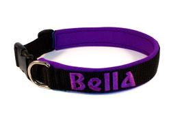 Klickhalsband bestickt schwarz-lila
