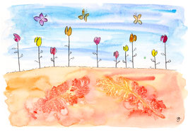 Blätterdruck mit Blüten