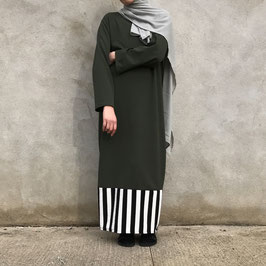 Abaya à bande duo verte