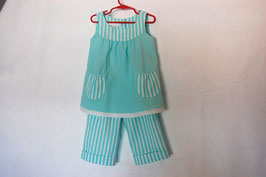Handcrafted  - Long Pants & Top - Turquois - for Girls 4 (four) YEARS