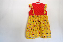 Handcrafted  - Ladybug Dress - Red/Yellow -  for Girls 4 (four) YEARS