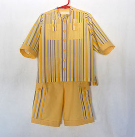 Handcrafted  - Yellow & Stripe SUIT  for Boys 2 (two) YEARS