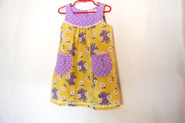 Handcrafted  - Flower & Dots Dress - Purple/Yellow - for Girls 4 (Four) YEARS