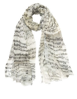 【LEE掲載】ムジカ楽譜柄ストール E16 2160 Musica Faliero Sarti(ファリエロサルティ)