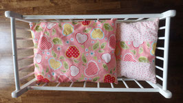 Puppenbettzeug rosa Äpfel