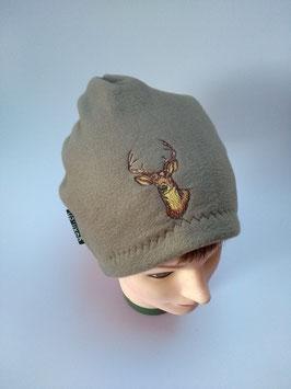 Mütze grünbraun, mit Hirschkopf bestickt