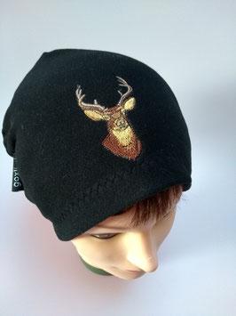 Mütze schwarz, mit Hirschkopf bestickt