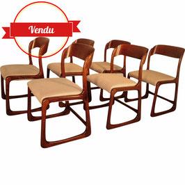 Suite de 6 chaises Baumann en bois et tissu - 1950