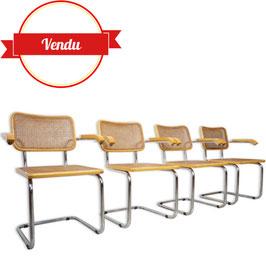 Suite de 4 fauteuils Cesca B64 design Marcel Breuer
