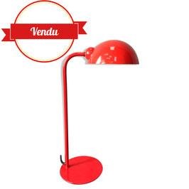Lampe à poser vintage tout en métal laqué rouge