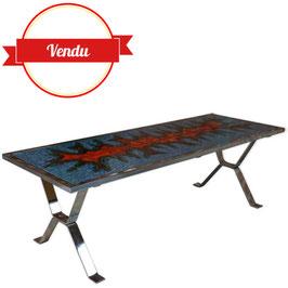 Table basse vintage en céramique éclatante et chrome
