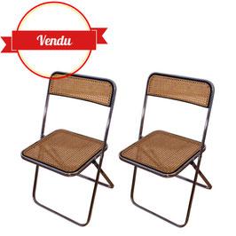 Paire de chaises vintage pliante chromée et cannées