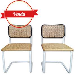 Paire de chaises Cesca B32 bicolore design Marcel Breuer