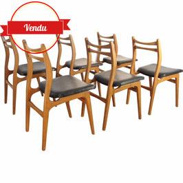 Ensemble de 6 chaises scandinaves en bois et simili cuir - 1960