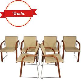 Suite de 6 fauteuils Thonet années 80 en bois et chrome
