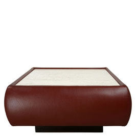 Table basse en cuir et travertin