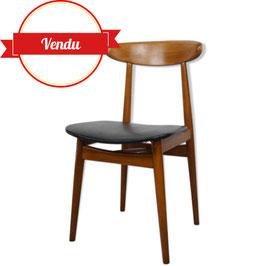 Chaise scandinave en teck et simili cuir noir années 60